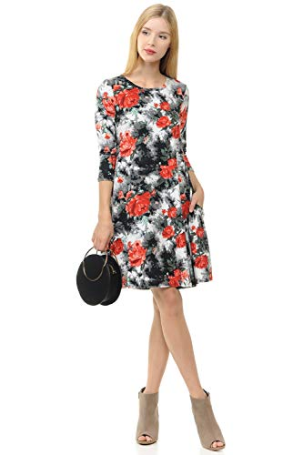 Floral Trapeze Dress - iconic luxe Women's Trapeze Swing Dress Medium Floral Black Tie Dye