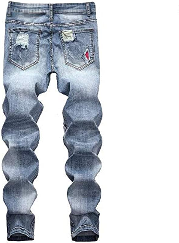 HX fashion Jeanshosen Biker Lang Destroyed Hose Vintage Jeans Used Look Bequeme Größen Wasserwäsche Regular Fit Straight Denim Hose Größe Größen Stretch Arbeitshose Cargohose Für Männer: Odzież