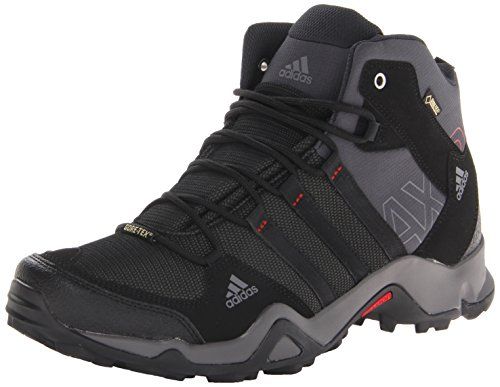 adidas Outdoor Men's Ax2 Mid Gore-Tex Hiking Boot, Dark Shale/Black/Light Scarlet, 10.5 M US