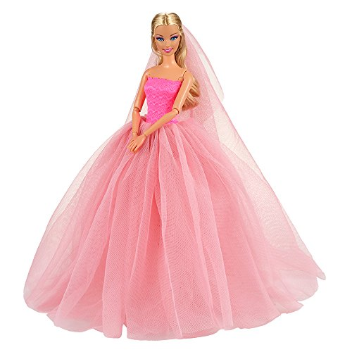 BARWA Pink Wedding Dress with Veil Evening Party Princess Pink Gown Dress for 11.5 inch Girl Doll ()