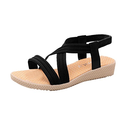 Leisure Bohemia Flat Sandals Women Peep Shoes Elastic ANBOO Black Outdoor Toe Bandage x4qaF5I