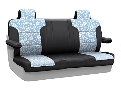 Coverking Custom Fit Rear Solid Bench Seat Cover for Select Lincoln Town Car Models - Neoprene (Hawaiian Sky With Black Sides) ()