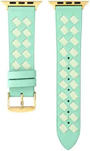 Tonsee Waterproof Watch Band, Compatible for Apple WatchPremium Soft Leather Grid Sport Style Replacement iWatch Strap for Series 4321 42/44mm