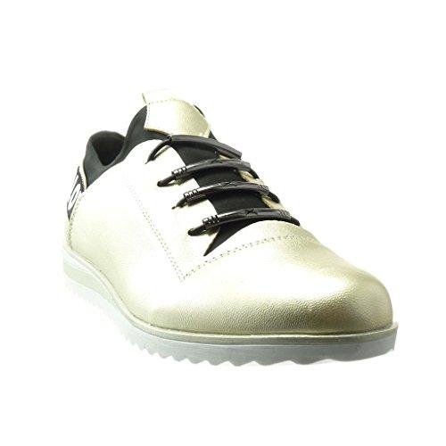 Angkorly - damen Schuhe Sneaker - glänzende Keilabsatz 2.5 CM - Gold