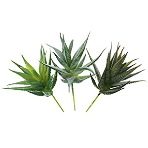 LJY 3 Pieces Faux Aloe Realistic Artificial Succulent Greenhouse Small Plants Unpotted for Home Garden Decoration, Color Assorted 11