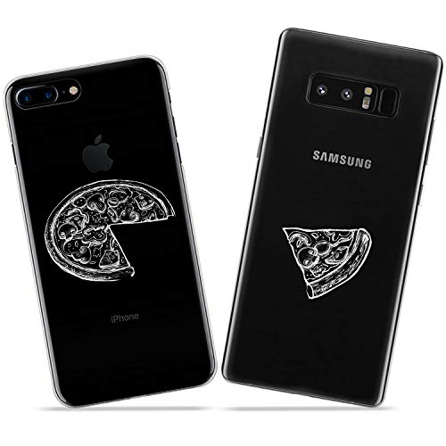Wonder Wild Pizza Slice Couple Case iPhone Xs Max X Xr 10 8 Plus 7 6s 6 SE 5s 5 TPU Clear Gift Apple Phone Cover Print Protective Double Pack -