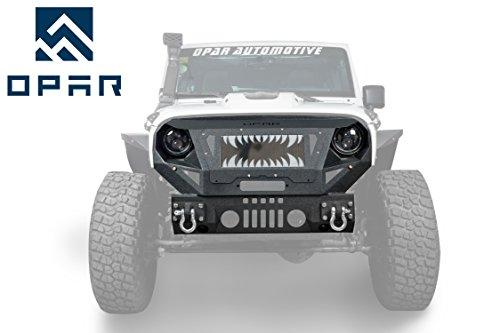 Opar Jeep Wrangler Front Bumper & Grille Guard for 2007-2018 Jeep JK & Wrangler Unlimited