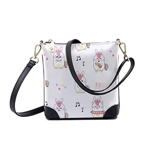 Shoulder Bag Cute Rabbit Unicorn Pattern Pastel For Women Bucket Crossbody
