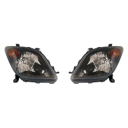 Fits Scion xA 2004-2005 Headlight Unit Black Bezel Pair Driver and Passenger Side SC2505100