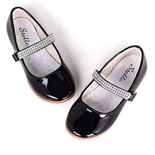 STELLE Girls Mary Jane Shoes Slip-on Party Dress Flat for Kids Toddler (8MT, Black)