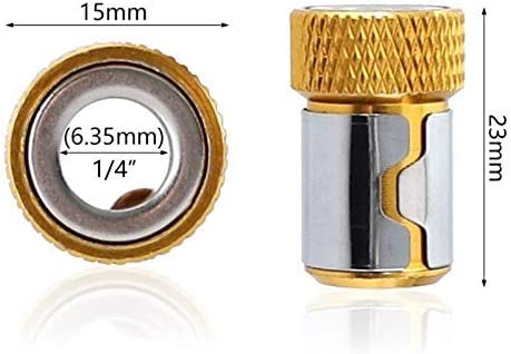Fulok Easy Screwdriver Bits Magnetic Ring 1//4 6.35mm Metal Strong Magnetizer Screw for Electric Screws
