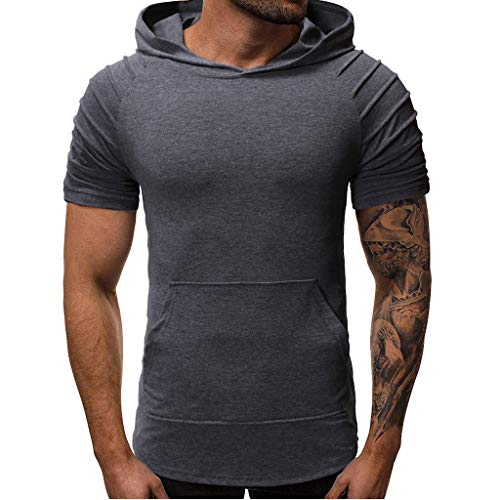 - Gibobby Summer Shirts for Mens Solid Pleats Slim Fit Raglan Short Sleeve Hoodie Pullover Tops Blouse with Pockets Gray