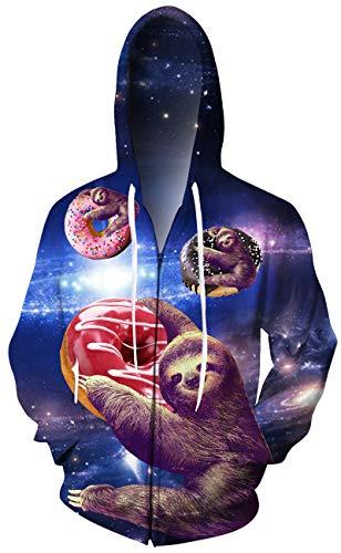 Leapparel Men/Women 3D Hoodie Full Zip Print Graphic Sweatshirts Pullover Casual Pocket Jacket (L, - Print Zip Jacket Animal