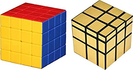 Toy Arena Super Magic Rubik Cube Puzzle Combo Pack Brainstorming Game Multicolor (Gold Mirror/4x4)