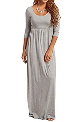 Jinson Women's Basic 3/4 Sleeve Maternity Long Maxi Dress Vestido with Empire Waist for Pregnancy