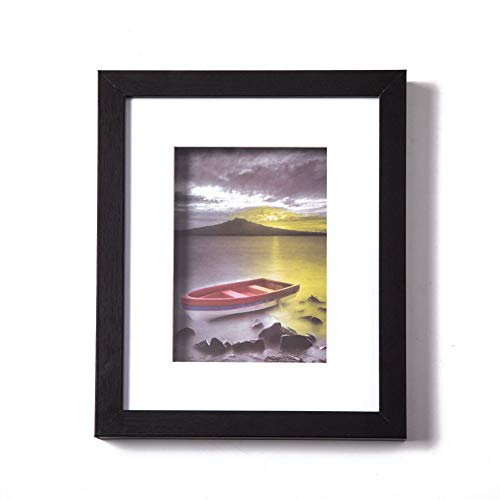 Muzilife 8x10 Wood Picture Frame - Flat Profile with 3D Deep Depth 1.2 in - for Picture 5x7 with Mat or 8x10 Without Mat -