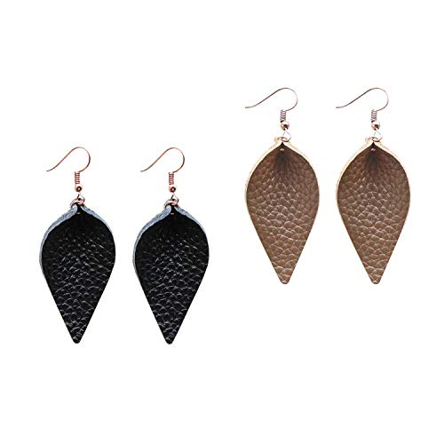 Mini Tan Leather Womens (Me&Hz Genuine Leather Petal Leaf Earrings Set Fall Brown Tan Black Leather Dangle Drop Earrings Small Lightweight, 2 Pairs/2inches for Dangling)