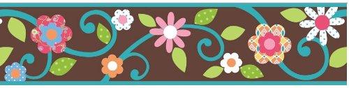 RoomMates selbstklebende Bordüre Blumen auf braunen Hintergrund