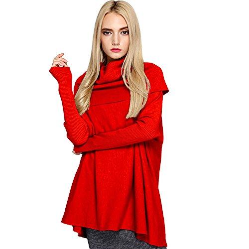Gris Tejido gules Polo Suelto RONG Cuello F Chica Sweater XIU 7FR01HW