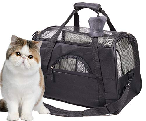 Lepet Cat Carrier Airline Approved Pet Travel Carrier Purse for Small Dog with Fleece Bedding and Safety - Oval Pet Carrier