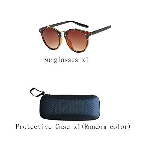 Fashion lunettes Unisex Mirror Zhhyltt Round Oversized Polarized Retro des Tea soleil Sunglasses de OTqxwRxn