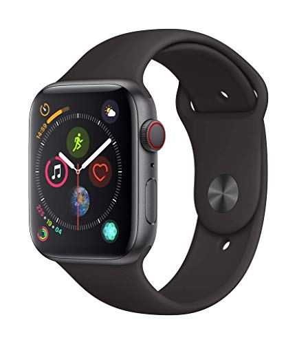 Apple Watch Series 4 (GPS + Cellular, 44mm) - Space Gray Aluminium Case with Black Sport Band (Verizon Phone Watch Cell)
