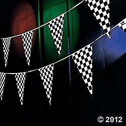 Plastic 100' CHECKERED Flag RACING Pennants/BANNER/Indy/NASCAR/RACER PARTY DECORATIONS/Decor/48 Pennants/RACE CAR -