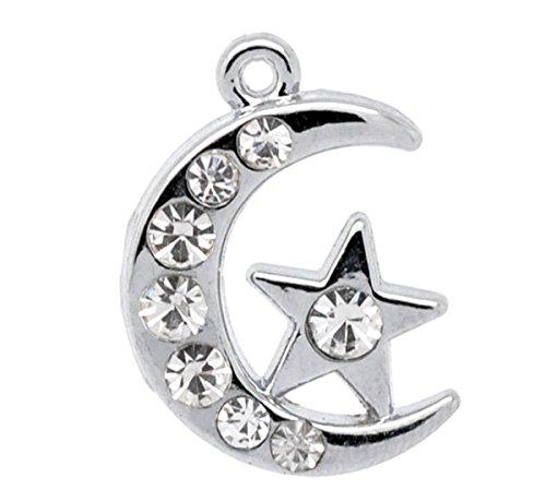 Housweety 10 Silver Tone Rhinestone Moon &Star Charm Pendants
