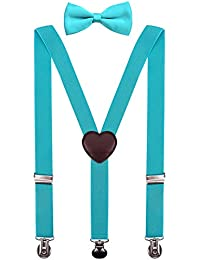 PZLE Boys Suspenders and Bow Tie Set Adjustable 30 Inches Turquoise