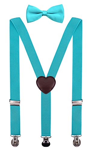 PZLE Boys Suspenders and Bow Tie Set Adjustable 30 Inches Turquoise -