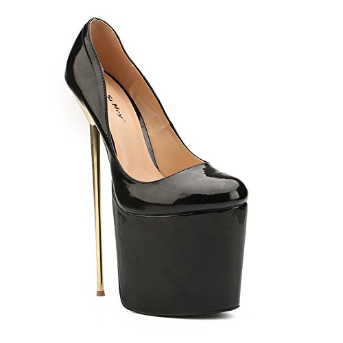 L@YC Women's Shoes Sexy 2018 New Round Toe Stiletto High Heels 22cm Metal Fine With Pumps Party Shoes Black isDh3L