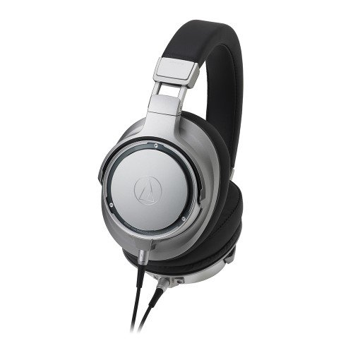 AudioTechnica ATH-SR9 Sound Reality Over-Ear High-Resolution Headphones with In-Line Microphone and Remote (Silver)