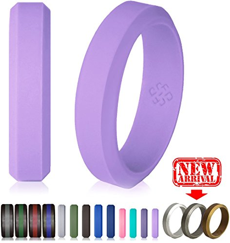 Knot Theory Silicone Wedding Ring Purple Lavender Thin Band 5mm Band for Superior Comfort, Style, and Safety (Lavender Purple, Size 6)