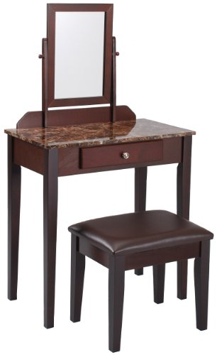 Crown Mark Iris Vanity Table/Stool, Espresso Finish, Marble Top