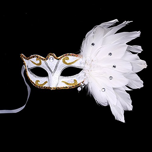 Fellibay Costume Mask Feather Masquerade Mask Halloween Mardi Gras Cosplay Party Mask For Girls Women  White