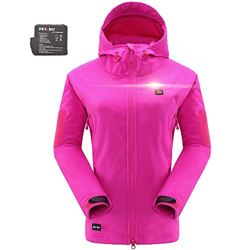 DEWBU Women's Soft Shell Heated Jacket with Battery Pack DB-12 2.0 (Rose Red, Large) - 12 Months Warranty