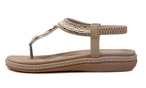 Talon Chaussures Strass avec Thong Plat Sandales Post Bohême Pantoufles sur Abricot Clip Femmes Sandales 7PWnvRxgHE