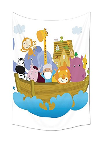 asddcdfdd Noahs Ark Decor Collection Old Christian Story Noahs Ark with Set of Animals in the Boat Journey Faith Cartoon Print Bedroom Living Room Dorm Wall Tapestry Multi by asddcdfdd