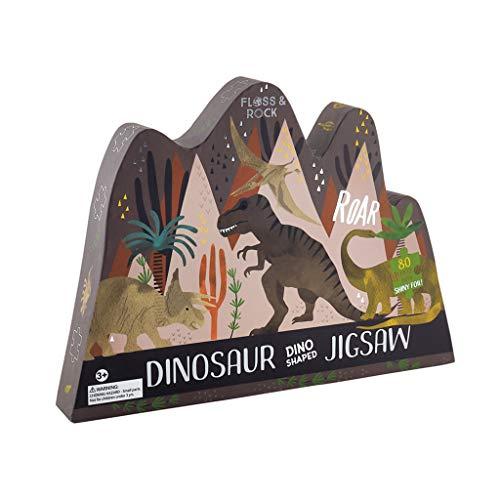 Dinosaur Shaped Midnight Black 16 x 13 Paperboard 80 Piece Jigsaw Puzzle