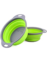 """ZOER Kitchen Foldable Silicone Strainers,2-Piece Collapsible Colanders Set, Includes Space-Saver Folding Strainers Sizes 8"""" - 2 Quart and 9.5"""" - 3 Quart (Green)"""