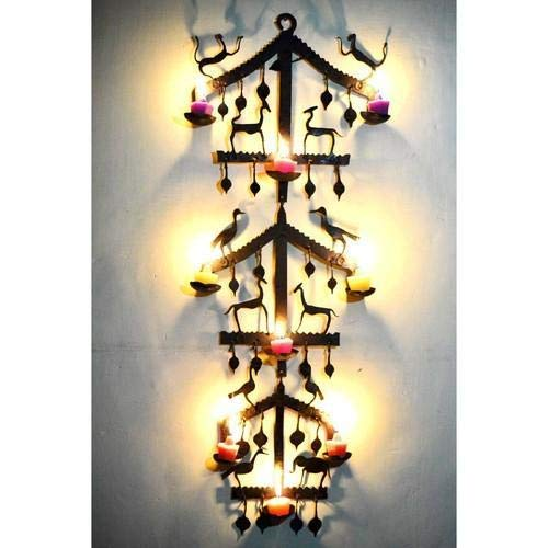 (tecmac Wall Mount with 9 Votive Decorative Tealight Candle Holder/Wall Sconce/Tribal Wall Panel (Height: 80 cm))