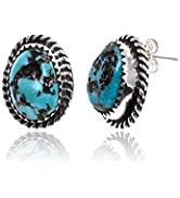 Natural Turquoise Silver Hooks Certified Navajo Native Stud Earrings 24391-1