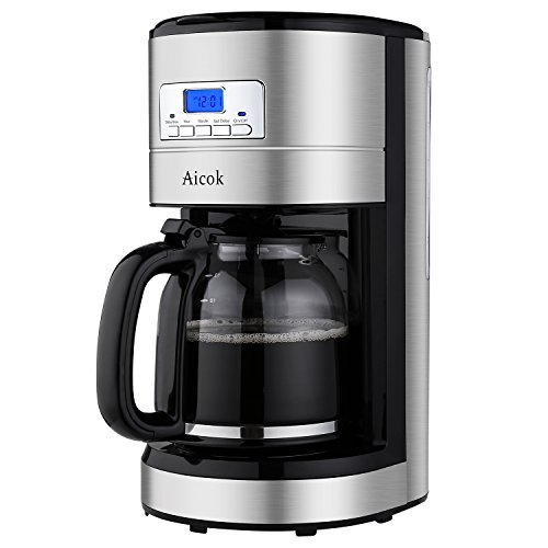 (Aicok Coffee Maker, 12 Cup Best Coffee Maker with Coffee Pot, Programmable Coffee Maker with Timer and Reusable Mesh Filter, Stainless Steel)
