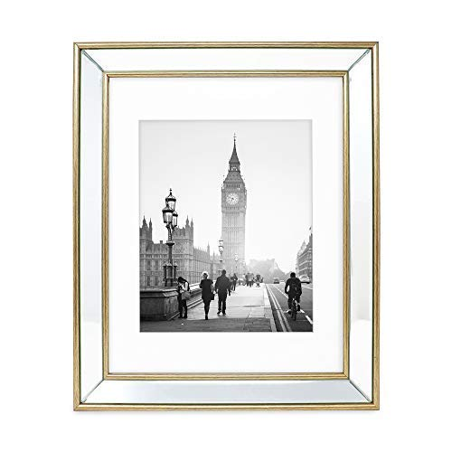 Isaac Jacobs 11x14 (Matted 8x10) Gold Beveled Mirror Picture Frame - Classic Mirrored Frame with Deep Slanted Angle Made for Wall Décor Display, Photo Gallery and Wall Art (11x14 (Matted - Slanted Edge Beveled