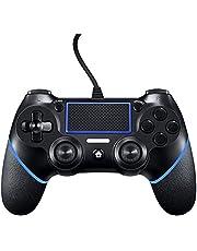 PS4-controller Bedrade controller voor Playstation 4 Dual Vibration Shock Joystick Gamepad voor PS4 / PS4 Slim / PS4 Pro en pc met 1,5 m lange USB-kabel (zwart / blauw)