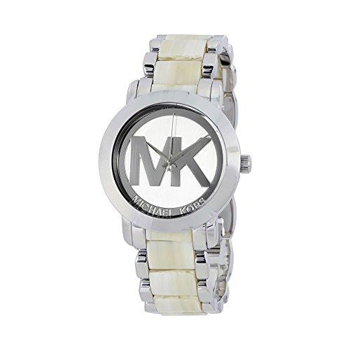 Michael Kors Silver Dial Steel and Beige Acrylic Ladies Watch (Michael Kors Acrylic Watch)