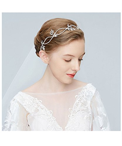 Bridal Crystal Hairband set - Alinay Elegant Rhinestone Leaf Wedding Bridal Tiara with Wedding -