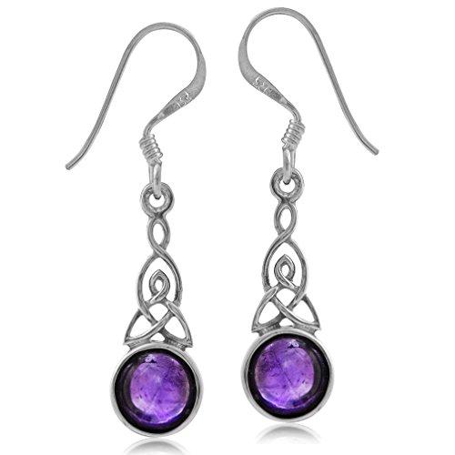 Hook Earrings Amethyst Drop (Natural Amethyst 925 Sterling Silver Triquetra Celtic Knot Dangle Hook Earrings)