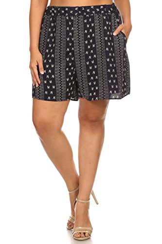Vialumi Women's Junior Plus Ornate Print Relaxed Fit High Waist Shorts Navy 3X