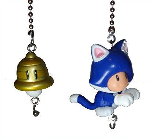 (Mario Bros Ceiling Fan Pull Set by Wooden Androyd Studio (Cat Toad & Super Bell))